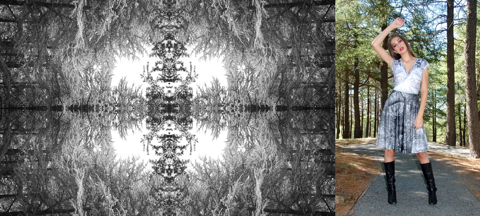 Grey forest print