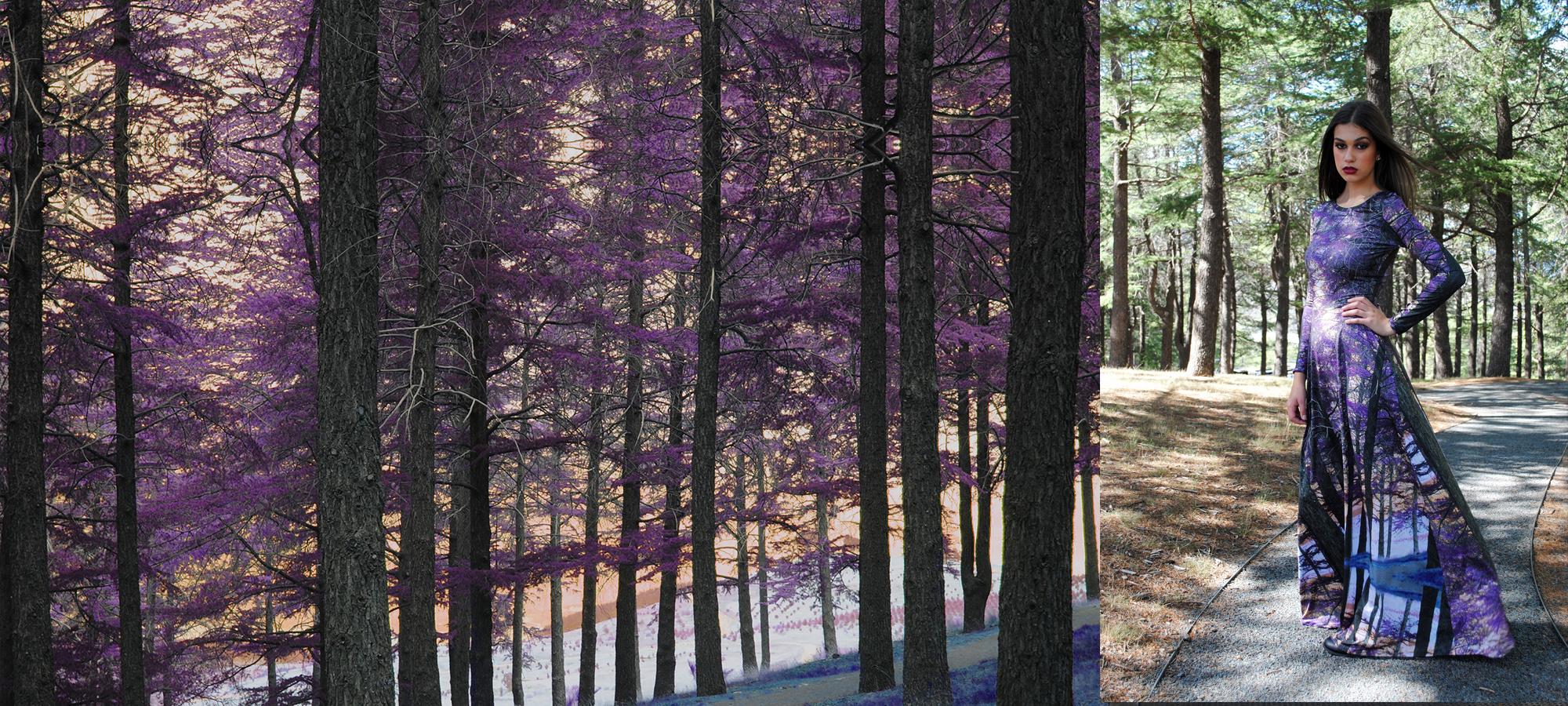 purple forest print